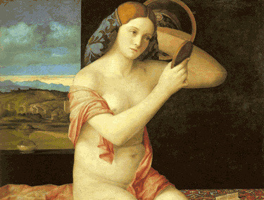 Young Woman Holding a Mirror artblecom