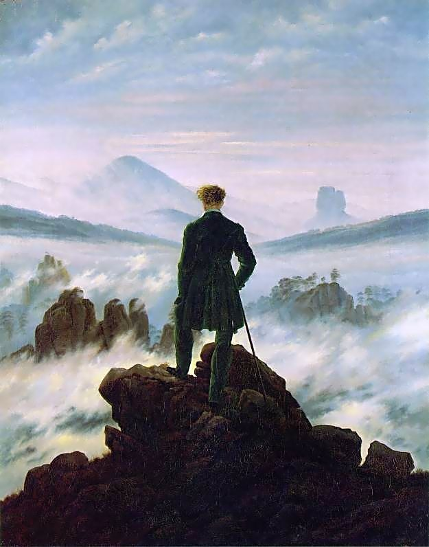 Painting 'the wander above the sea of fog' by Caspar David Friedrich