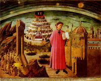Dante holding his poem, The Divine Comedy