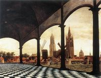View of Delft with a Fantasy Loggia