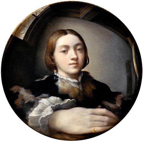 Self portrait in a convex mirror for Autoportrait miroir