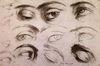 Seven Line Studies and Six Finished Studies of Eyes