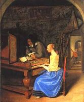 A Young Woman Playing a Harpsichord
