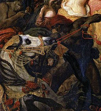 """analysis of the death of sardanapalus The fallible nature of sardanapalus influenced an 1821 play written by lord byron which was the original inspiration for delacroix's """"the death of sardanapalus"""" even though the king's life may be history's error, the painting is nonetheless stunning in nature."""