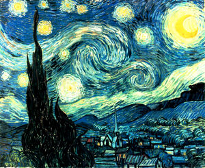 What is the theme of the starry night by vincent van gough